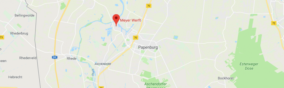 Screenshot of Meyer Werft, Germany on Google Maps
