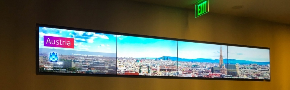 Four screen video wall on a wall with an image of an Austria city